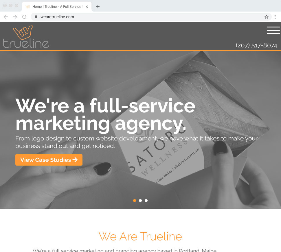 The new homepage design of wearetrueline.com.